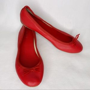 J Crew Flats 9 Red Classic Ballet Bow Rubber Sole